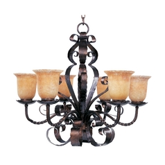 Maxim Lighting Chandelier with Amber Glass in Oil Rubbed Bronze Finish 20607VAOI