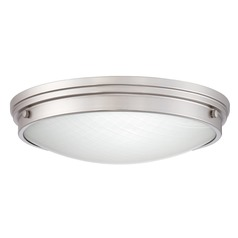 Brushed Nickel LED Flushmount Light with White Shade 3000K 2100LM