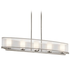 Kichler Lighting Kichler Island Light with White Shades in Classic Pewter Finish 42920CLP