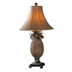 Table Lamp with Brown Shade in Brown Finish