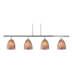 Modern Island Light with Brown Glass in Chrome Finish