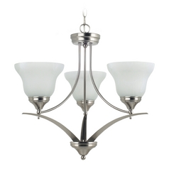 Sea Gull Lighting 3-Light Chandelier with Alabaster Glass in Brushed Nickel