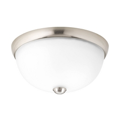 Progress Lighting Modern Flushmount Light with White Glass in Brushed Nickel Finish P3997-09WB