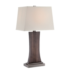 Lite Source Lighting Stanton Dark Walnut, Gun Metal Table Lamp with Rectangle Shade