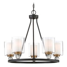 Minka Lavery Studio Painted Bronze W/ Natural Brushed Brass Chandelier