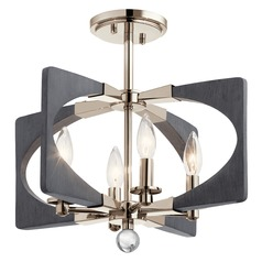 Kichler Lighting Alscar 4-Light Polished Nickel and Grey Semi-Flushmount Light