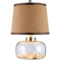 Table Lamp with Brown Shade in Clear Glass and Shells Finish