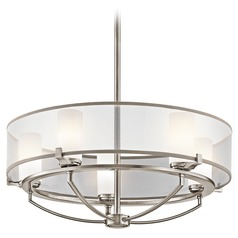 Kichler Drum Pendant Light with White Shades in Classic Pewter Finish