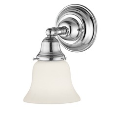 Craftsman Style LED Sconce Chrome with Bell Glass