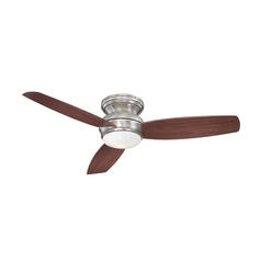 Modern Ceiling Fan with Light with White Glass in Pewter Finish