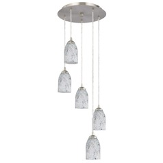 Design Classics Lighting Modern Multi-Light Pendant Light with Grey Art Glass and 5-Lights 580-09 GL1025D