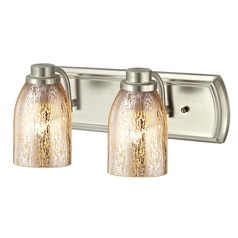 Industrial Mercury Glass 2-Light Bath Bar in Satin Nickel