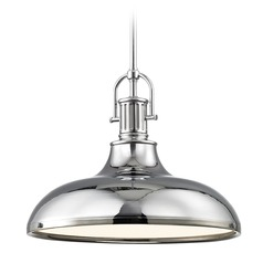 Industrial Chrome Pendant Light with Metal Shade 15.63-Inch Wide
