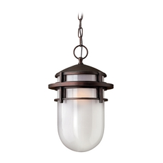 Outdoor Hanging Light with White Glass in Victorian Bronze Finish