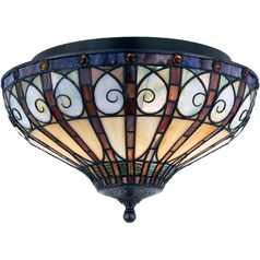 Flushmount Light with Tiffany Glass in Vintage Bronze Finish