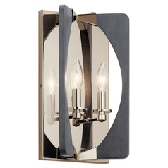 Kichler Lighting Alscar 2-Light Polished Nickel and Grey Sconce