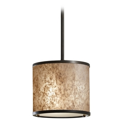 Feiss Lighting Modern Mini-Pendant Light with Beige / Cream Shade P1219LAB