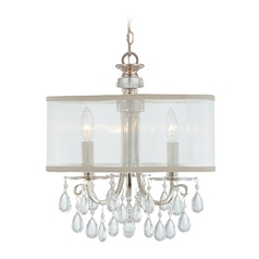 Crystorama Crystal Mini-Chandelier with White Shades in Polished Chrome Finish 5623-CH