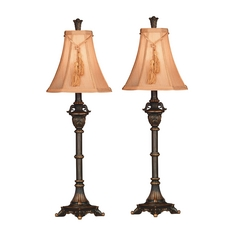 Kenroy Home Lighting Table Lamp Set with Brown Shade in Metallic Bronze Finish D196745