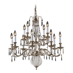 Crystal Chandelier in Aged Silver Finish