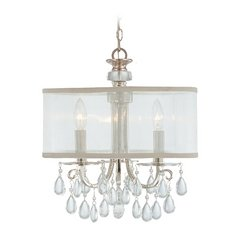 Crystal Mini-Chandelier with White Shade in Polished Chrome Finish