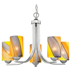 Modern Chandelier with Multi-Color Shades in Polished Chrome Finish