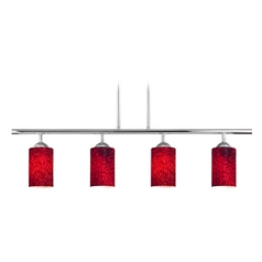 Modern Linear Pendant Light with 4-Lights and Red Glass in Chrome Finish