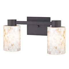 2-Light Mosaic Glass Vanity Light Bronze