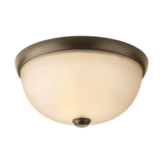 Modern Flushmount Light with Beige / Cream Glass in Antique Bronze Finish