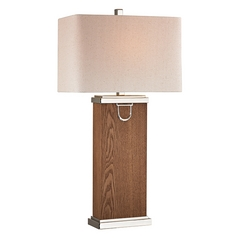 Table Lamp with Beige / Cream Shades in Dark Walnut, Polish Nickel, Chrome Finish