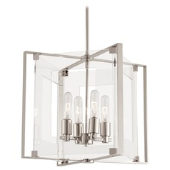 George Kovacs Crystal Clear Polished Nickel Pendant Light with Rectangle Shade