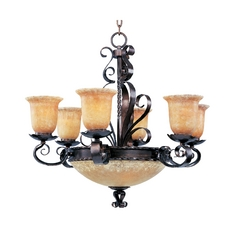 Maxim Lighting Chandelier with Amber Glass in Oil Rubbed Bronze Finish 20613VAOI