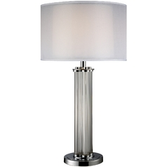 Modern Table Lamp with Silver Shade in Clear Glass and Chrome Finish