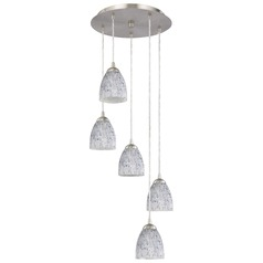 Design Classics Lighting Multi-Light Adjustable Pendant Light with Art Glass Bell Shades 580-09 GL1025MB