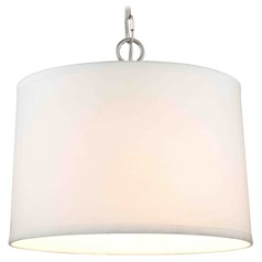 Satin Nickel Swag Light with White Linen Drum Shade - 1-Light