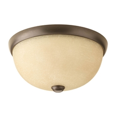 Progress Lighting Modern Flushmount Light with Beige / Cream Glass in Antique Bronze Finish P3999-20WB
