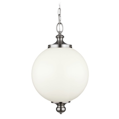 Feiss Lighting Parkman Brushed Steel Pendant Light with Globe Shade