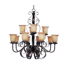 Maxim Lighting Chandelier with Amber Glass in Oil Rubbed Bronze Finish 20614VAOI