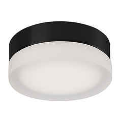 Modern Black LED Flushmount Light with Frosted Shade 3000K 460LM
