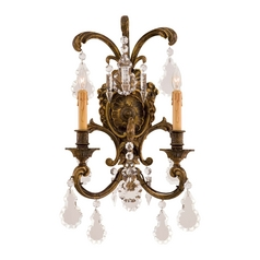 Crystal Wall Sconce Light in Antique Bronze Patina Finish