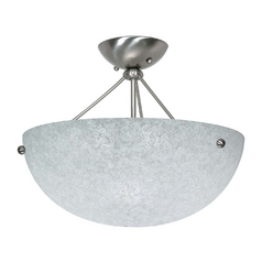 Modern Semi-Flushmount Light with White Glass in Brushed Nickel Finish