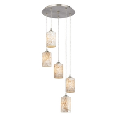 Multi-Light Pendant Light with Five Mosaic Glass Cylinder Shades
