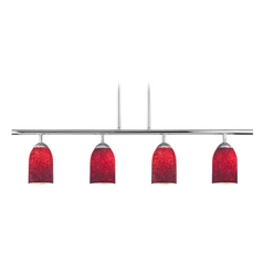 Modern Island Light with Red Glass in Chrome Finish