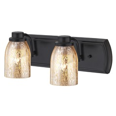 Industrial Mercury Glass 2-Light Bath Bar in Bronze