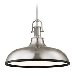 Industrial Pendant Light Satin Nickel and Black 15.63-Inch Wide