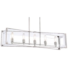 George Kovacs Crystal Clear Polished Nickel Island Light with Rectangle Shade