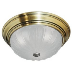 Flushmount Light with White Glass in Antique Brass Finish