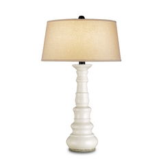 Table Lamp with White Shade in Antique White Crackle Finish