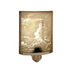 Lighthouse Night Light with Art Glass Porcelain Shade