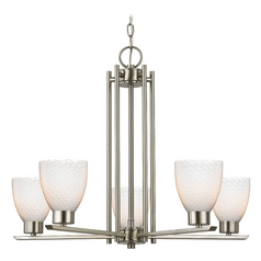 Chandelier with White Glass in Satin Nickel - 5-Lights